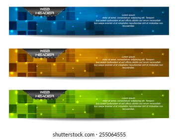 Web headers with precise dimensions, set of vector banners/design with place for your content and web presentation
