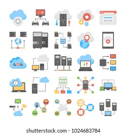 Web Hosting And Cloud Storage Flat Vector Icons