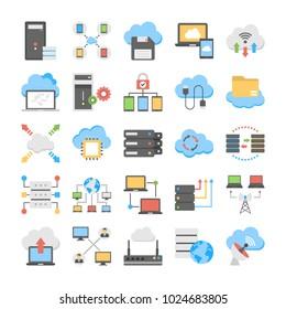 Web Hosting And Cloud Technology Flat Vectors Set