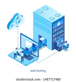 Web hosting concept. Isometric design concept on cloud computing theme. Vector illustration mock-up for website and mobile website. Landing page template