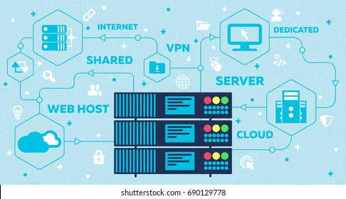Web Hosting Concept with Rack Servers and Icons