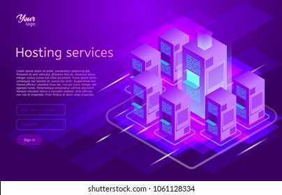 Web hosting and data center isometric vector illustration. Concept of big data processing, server room rack, Ultraviolet colors