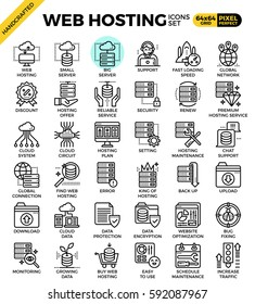 Web hosting, internet, cloud data detailed line icons set in modern line icon style concept for ui, ux, web, app design