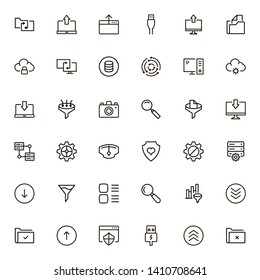 Web hosting line icon set. Collection of high quality black outline logo for web site design and mobile apps. Vector illustration on a white background
