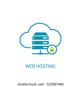 Web hosting server icon with internet cloud storage computing network connection sign. Concept design style vector illustration elements for website, mobile, banner,  application on blue background.