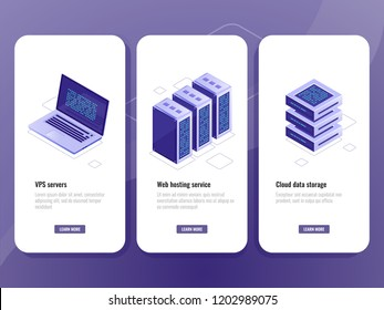 Web hosting service isometric icon, vps server room, data warehouse cloud storage, laptop with big data processing process on screen vector vertical banner