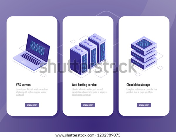 Web Hosting Service Isometric Icon Vps Stock Vector (Royalty Free