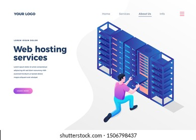 Web hosting services isometric landing page template. Programmer, engineer providing server technical support. Digital data storage system. Modern datacenter for information backup homepage design