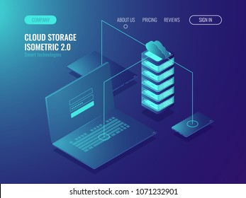 Web hosting solution, cloud server data storage, data transfer and data transmission technology isomeric vector illustration