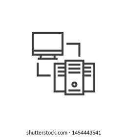 Web Hosting Vector Illustration, outline sign