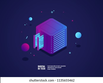 Web hosting and virtual server room icon, datacenter and database cloud storage, memory slot, futuristic technology, VPN system, data processing and encryption vector illustration isometric neon