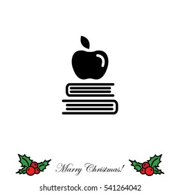 Web icon. Apple on books, knowledge icon