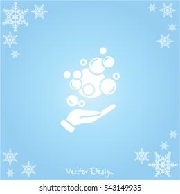 Web icon. Bubbles in the hand, bubble blower