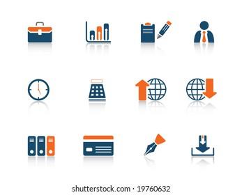 Web icon business blue orange series
