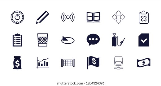 Web icon. collection of 18 web filled and outline icons such as pencil, chat, harden hose, file, chart, photo album, crown, sundial. editable web icons for web and mobile.