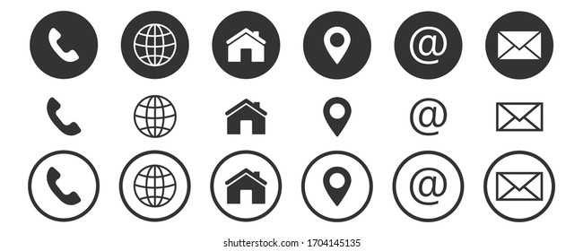web icon, contact us icon, blog and social media round signs