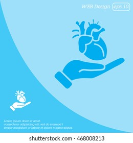 Web icon. Human heart in hand