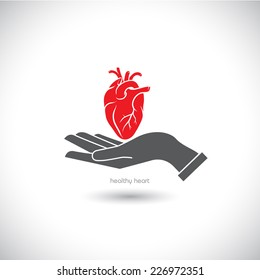 Web icon, the human heart in his hand.