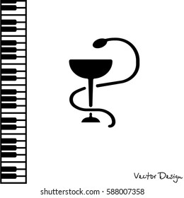 Web icon. Hygeia bowl, Hippocratic cup, Hospital symbol