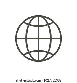 Web icon. Line internet vector. Trendy flat world globe outline ui sign design. Thin linear network graphic pictogram for web site, mobile application. Logo illustration. Eps10.