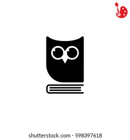 Web icon. Owl on the book, logo, education emblem