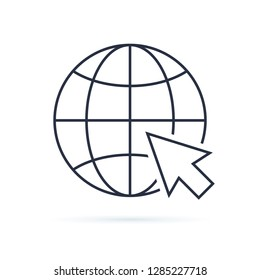 Web icon. Web icon page symbol for your web design. Internet world vector. Vector earth globe illustration, planet symbol. Planet Earth icon for web banner infographics. Internet browser online vector