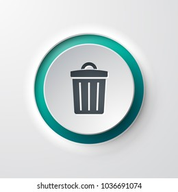 web icon push button trash can
