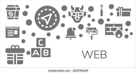 web icon set. 11 filled web icons.  Collection Of - Coffee, Gps, Newspaper, Alarm bell, Gift, Paint roller, Hannya, Abc, Mirror, Firewall