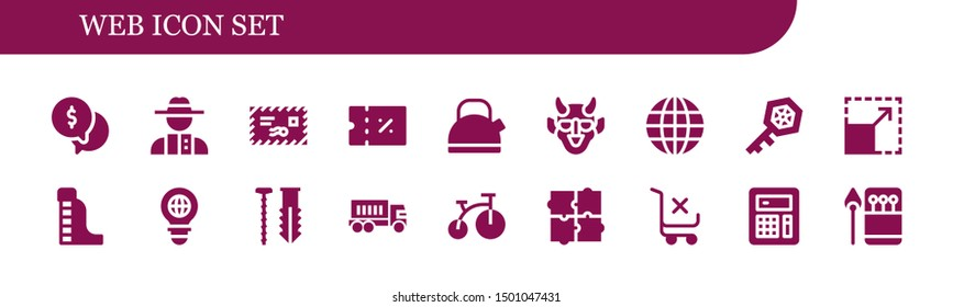 web icon set. 18 filled web icons.  Collection Of - Money, Detective, Mail, Coupon, Kettle, Hannya, Earth globe, Key, Resize, Waterpark, Bulb, Screw, Truck, Bike, Puzzle, Shopping cart