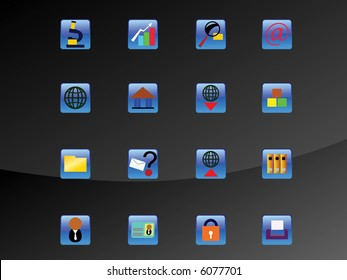 web icon set with blue glass box
