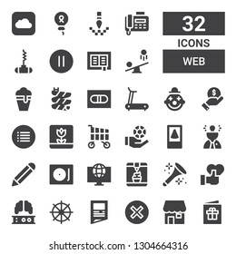 web icon set. Collection of 32 filled web icons included Postcard, Shop, Cancel, Newspaper, Helm, Brain, Like, Horn, Ice cream, World, Record player, Pencil, Idea, Cellphone, Chips
