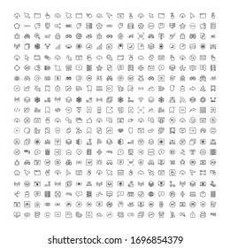 Web icon set. Collection of high quality outline web pictograms in modern flat style. Black Web symbol for web design and mobile app on white background. Line logo EPS10