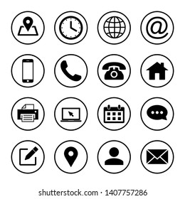 Web icon set. Contact us icons. web icons set for computer. website and mobile apps