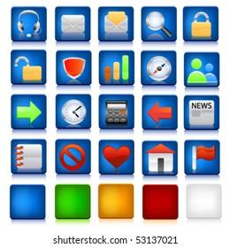 Web icon set with diffrent colour backgrounds.