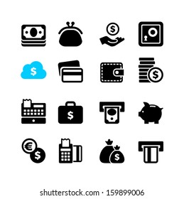 Web icon set - money, coin, card