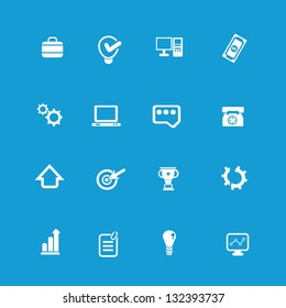 Web icon set on blue background,vector