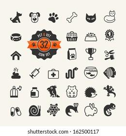 Web icon set - pet, vet, pet shop, types of pets.