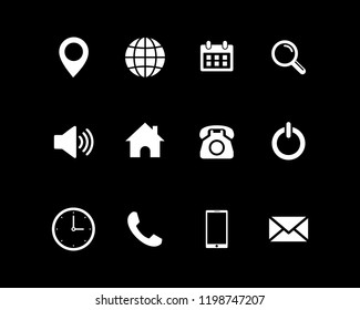 Web icon set vector, contact us set vector
