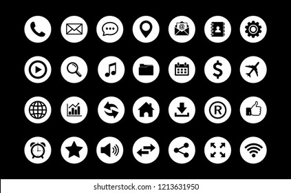Web icon set vector, Contact us icons vector. for web computer and mobile