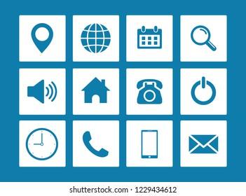 Web icon set vector, Contact us icons vector