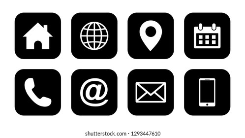 Web icon set vector, contact us Icon set vector