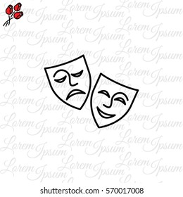 Web icon. Theater masks, comedy and tragedy