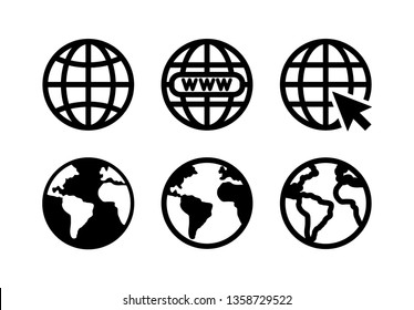 Web icon vector. Flat icon Web internet and globe symbol illustration
