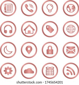 web icons, 16 web icons of smartphone, notes, location, messages, home, bookmark, maps, settings, lock, calendar, call, internet. rose gold color.