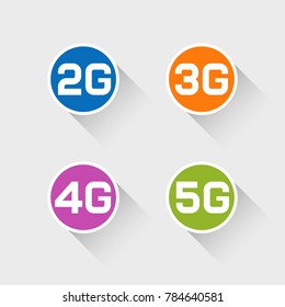 Web icons of 2G 3G 4G 5G technology. Vector illustration
