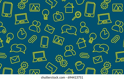 Web icons background. Vector pattern