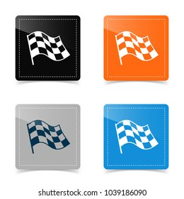 Web icons of checkered flag. Vector illustration