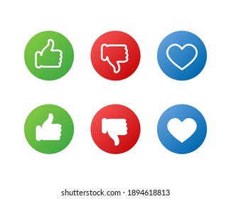 Web icons. Like, Dislike and Love signs. Thumb up button. Social media symbols. Linear and flat