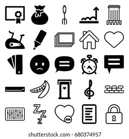 Web icons set. set of 25 web filled and outline icons such as alarm, door with heart, tag, sad emot, highlighter, chat, exercise bike, diploma, graph, document, photos