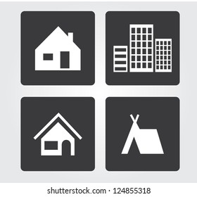 web icons set: buildings
